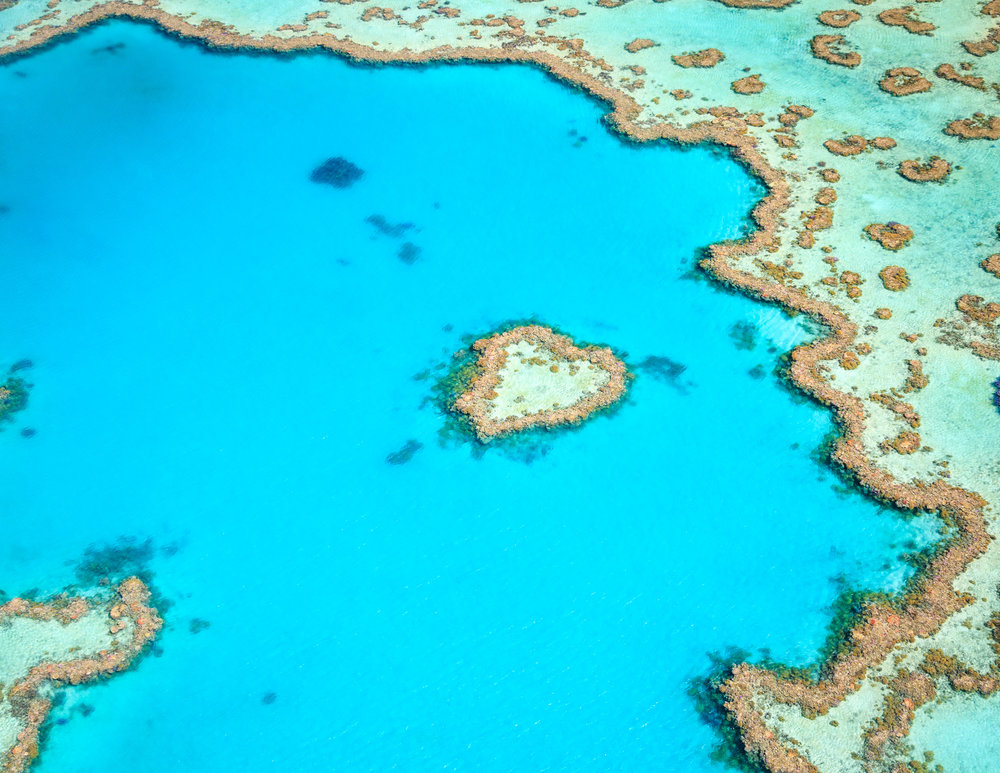 The famous heart reef from the air.