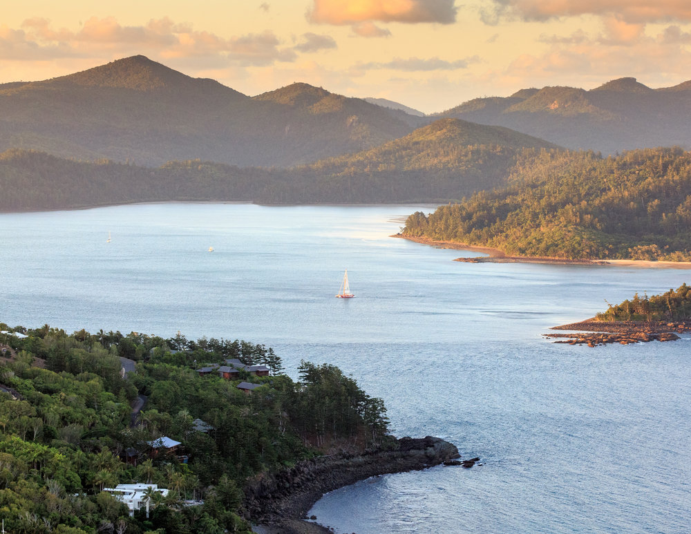 Sailing the Whitsundays at sunset.