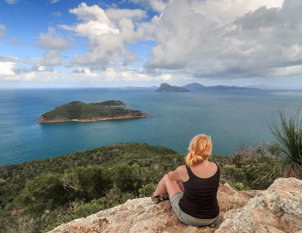 The incredible view from the top of Passage Peak, Hamilton Island.