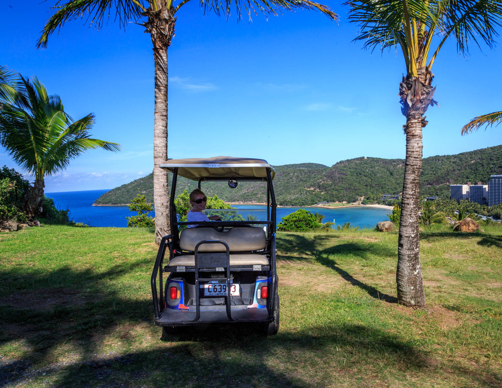 There are no cars on Hamilton Island, it's golf buggies all the way!