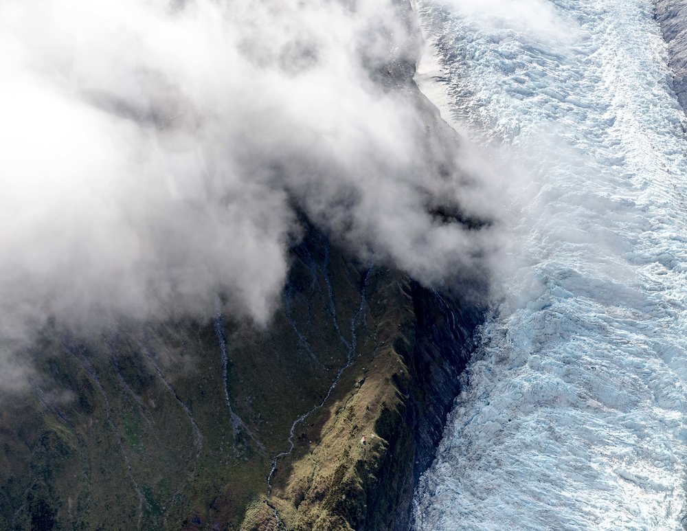 Fox Glacier from the air, New Zealand