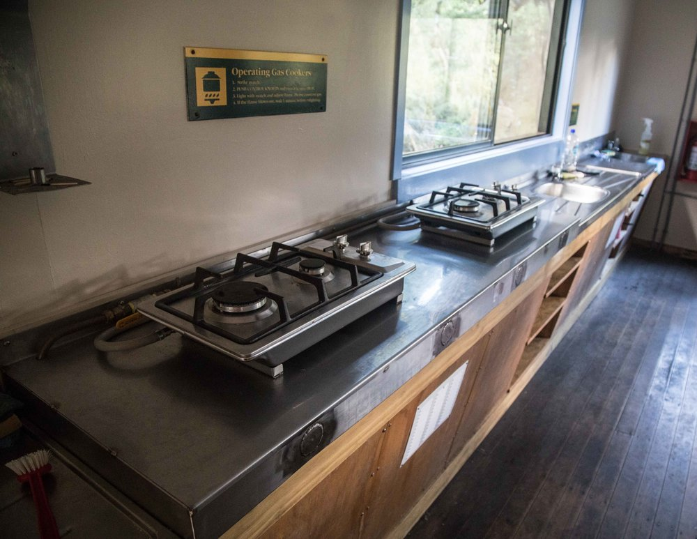 The kitchen at Lake MacKenzie Hut