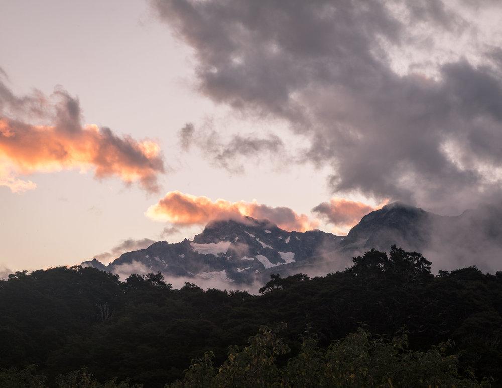 The Routeburn Track: Glacier Sunset