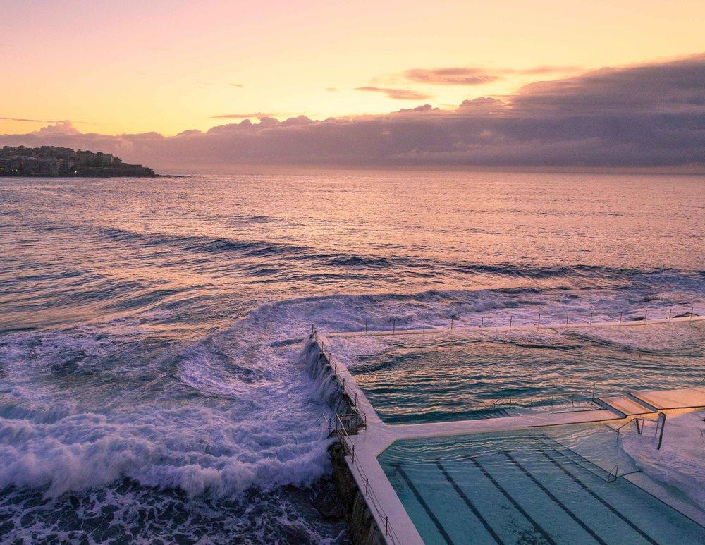Icebergs at sunrise
