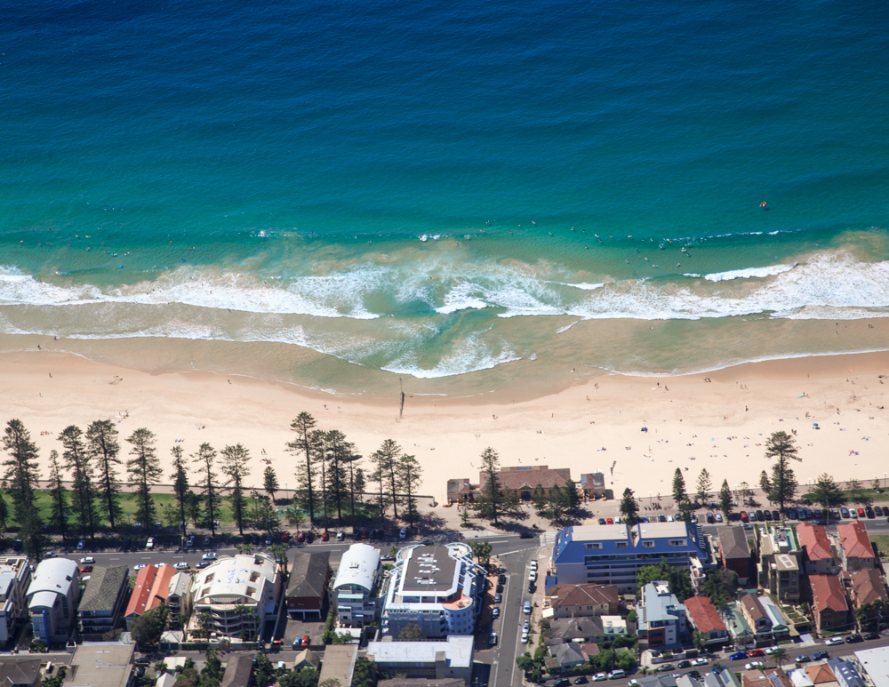Manly Beach from a helicopter