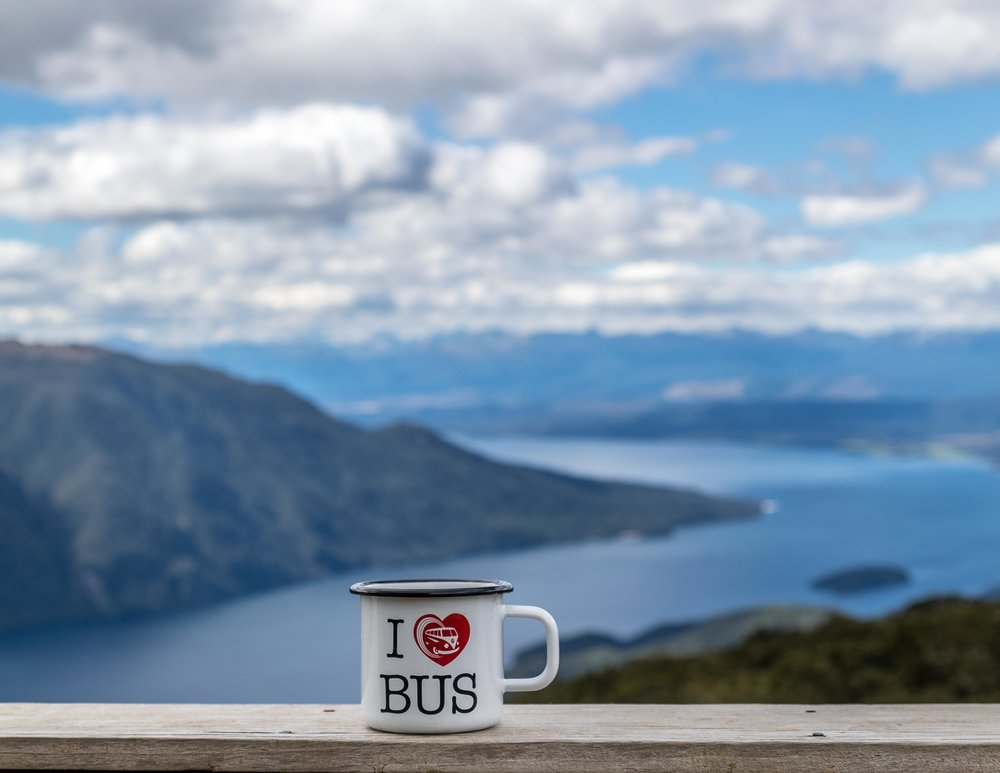 VW Mug with a view at Luxmore Hut