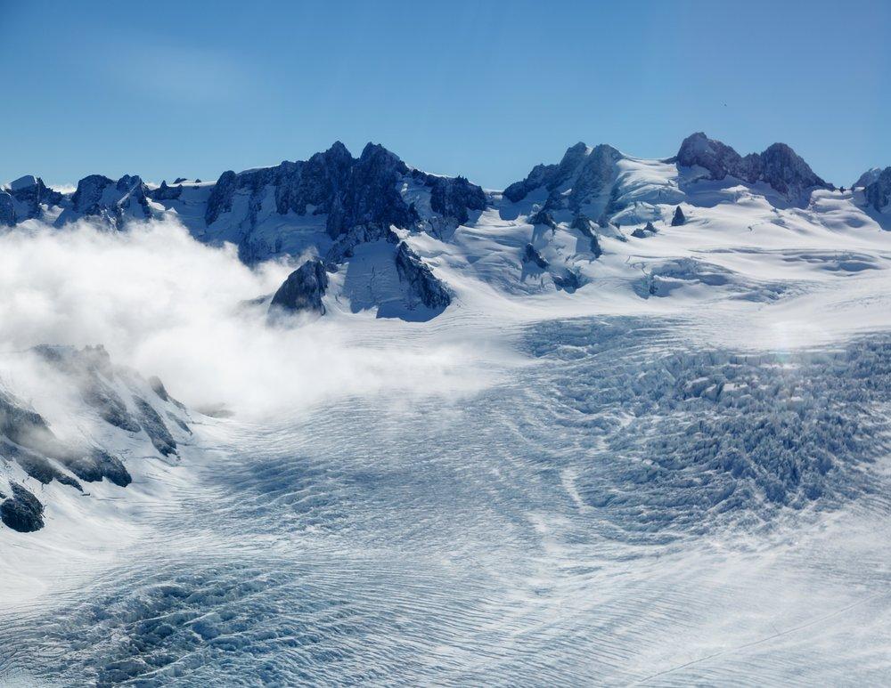 Flying above Fox Glacier, New Zealand