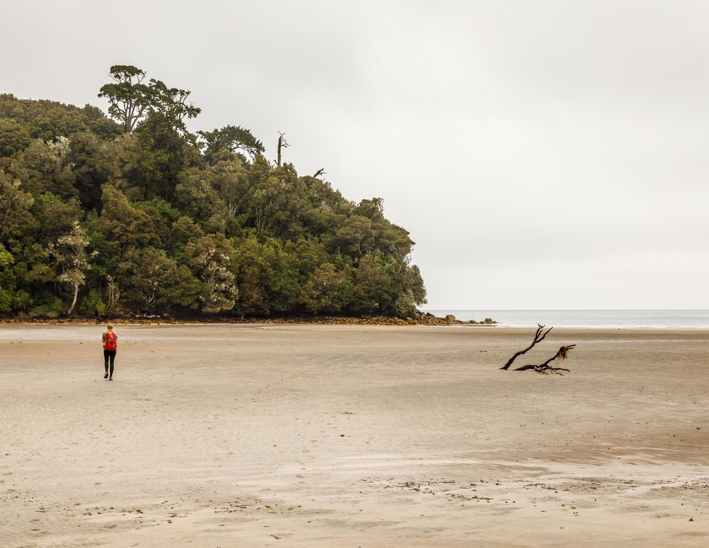 Crossing the bay at low tide on the Rakiura Track, Stewart Island