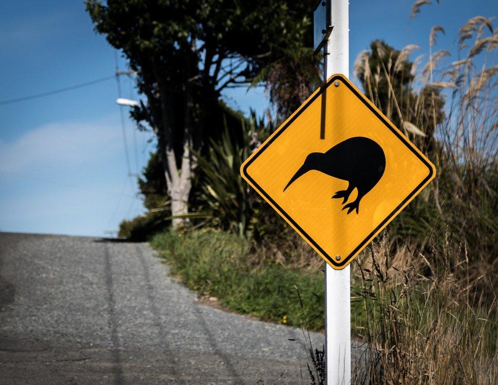 Kiwi sign on Stewart Island