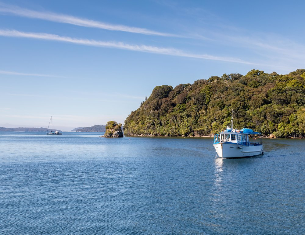 The boat to Ulver Island, Stewart Island