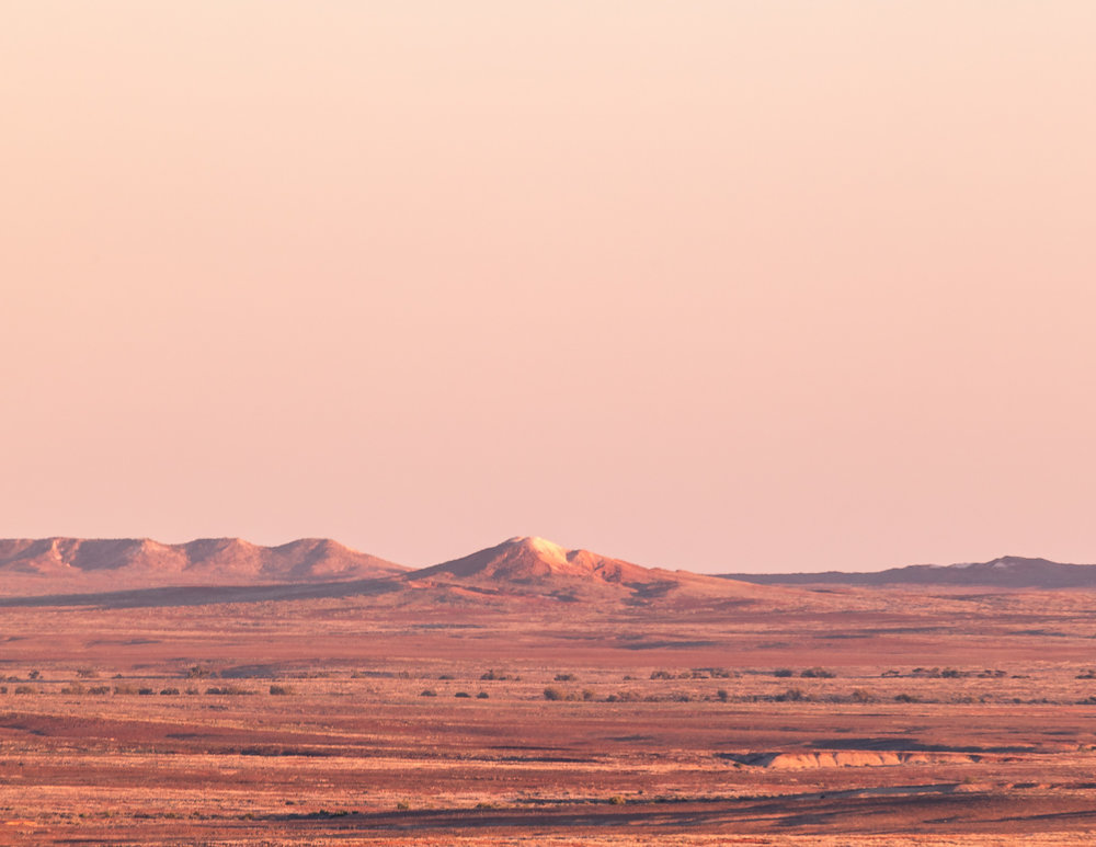 The Breakaways at Sunrise from Coober Pedy