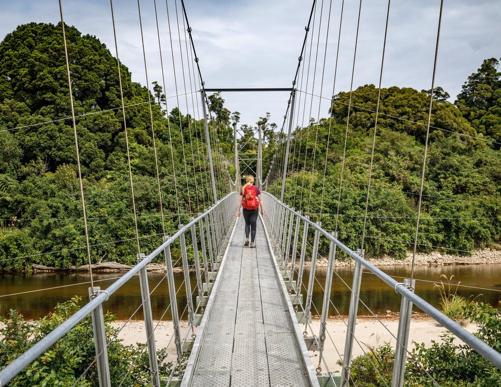 Suspension bridge near Lewis Hut