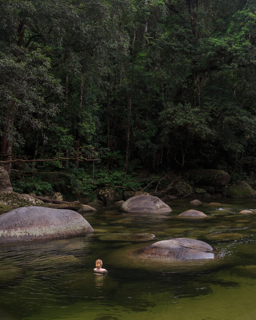 Swimming among the boulders at Mossman Gorge