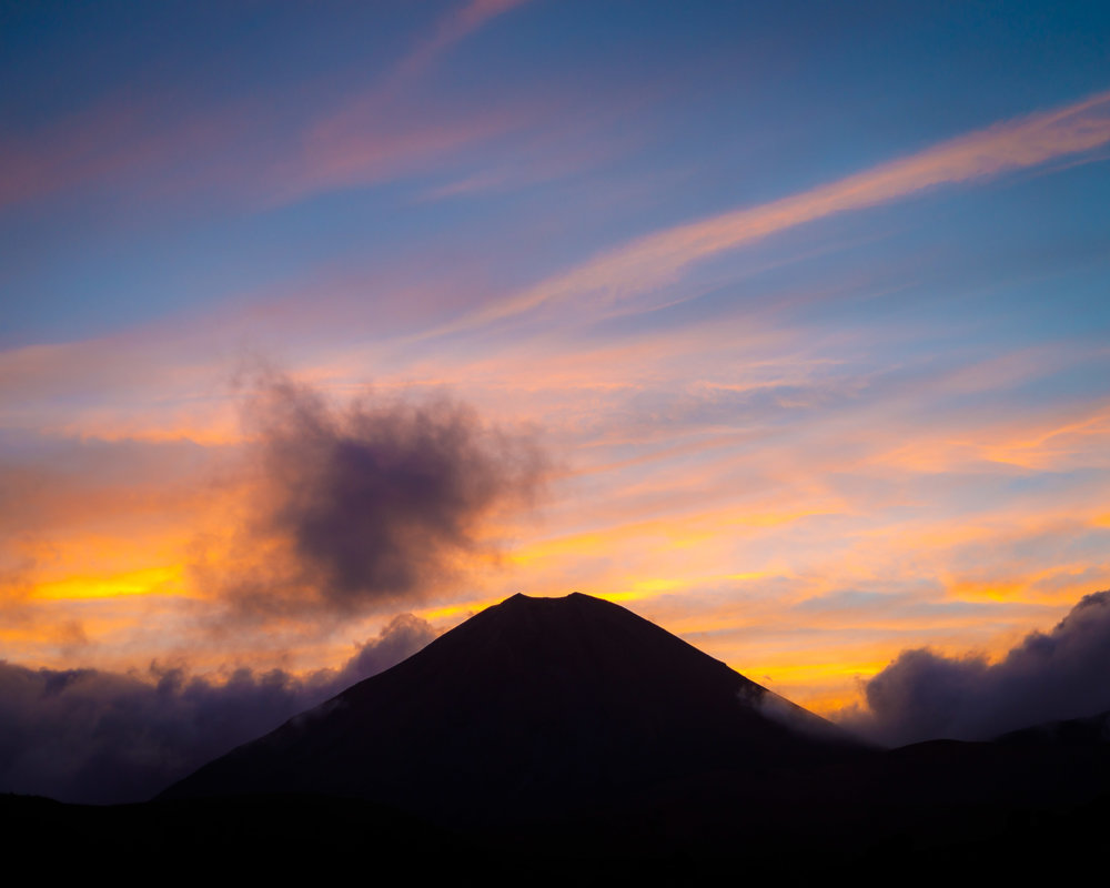 Sunset over Mount Ngauruhoe from Oturere Hut
