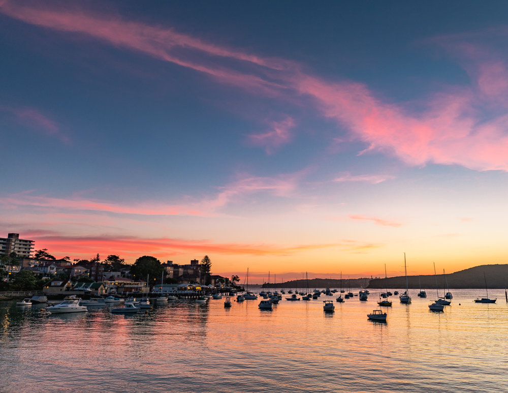 Best things to do in Manly: sunset at Manly Cove