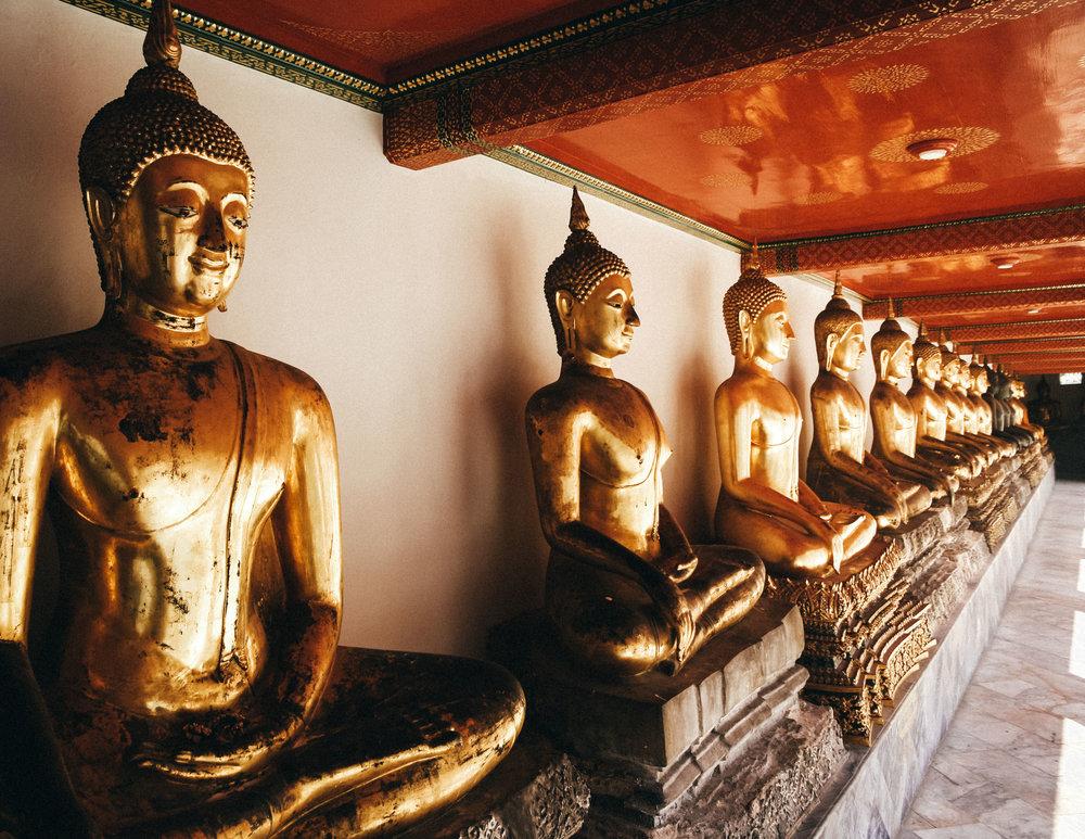 Golden Buddhas in Wat Pho, Bangkok