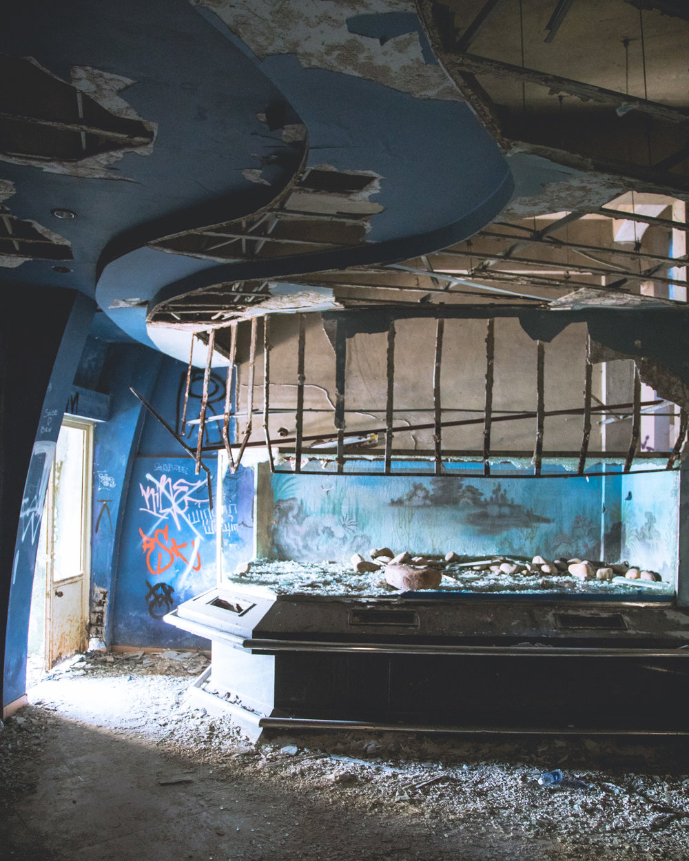 The Aquarium at the Abandoned water park in Hue