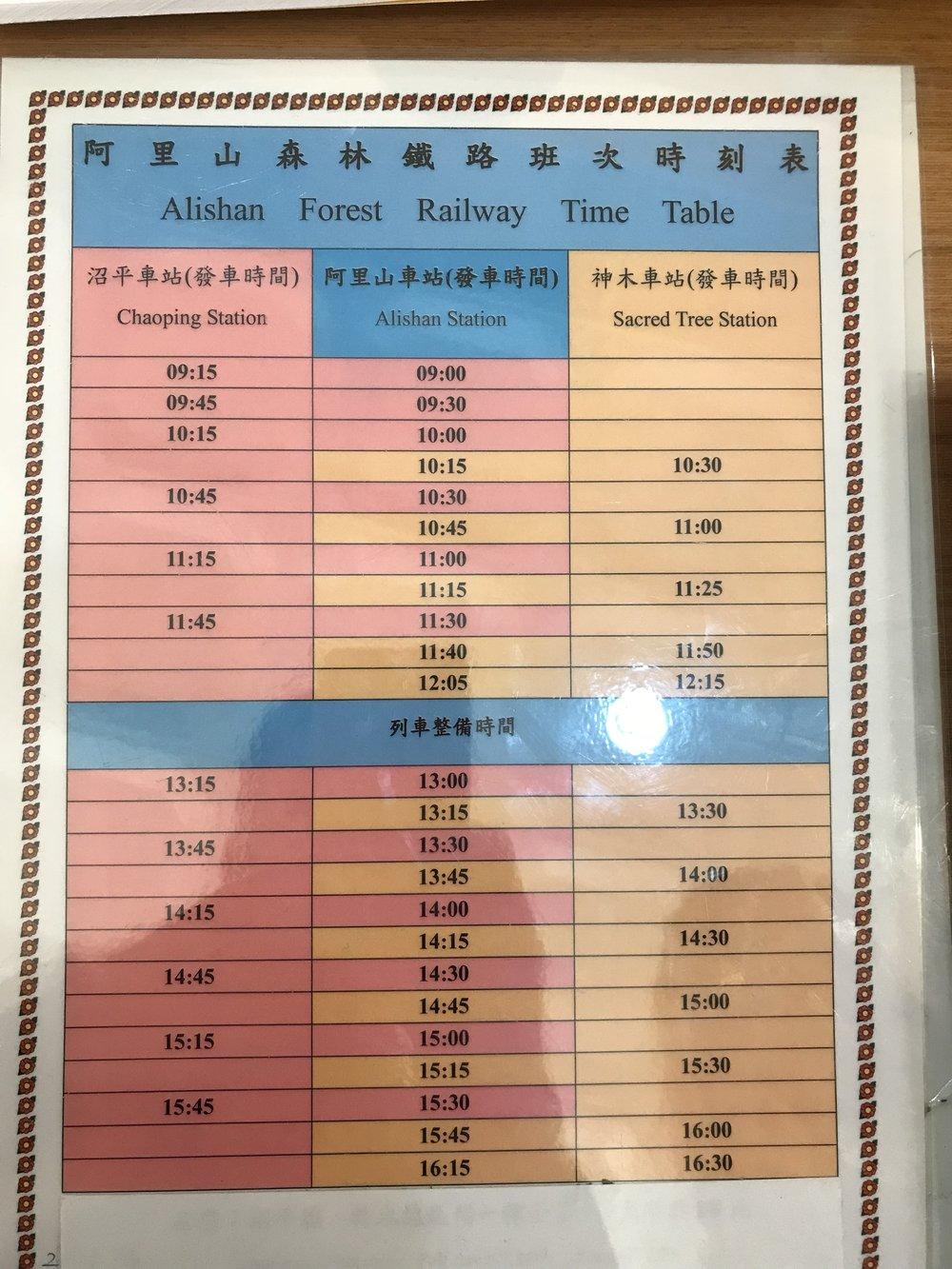 Alishan Train Timetable