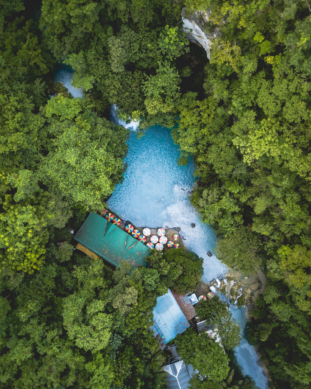 Drone photo of Kawasan Falls, Cebu, The Philippines