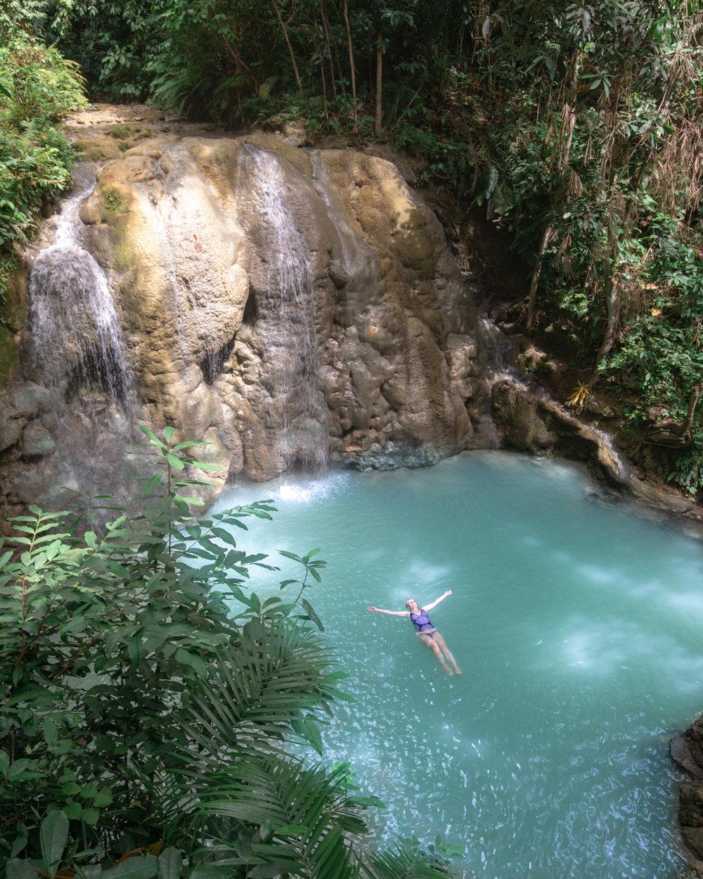 Swimming in Lugnason Falls, Siquijor, The Philippines