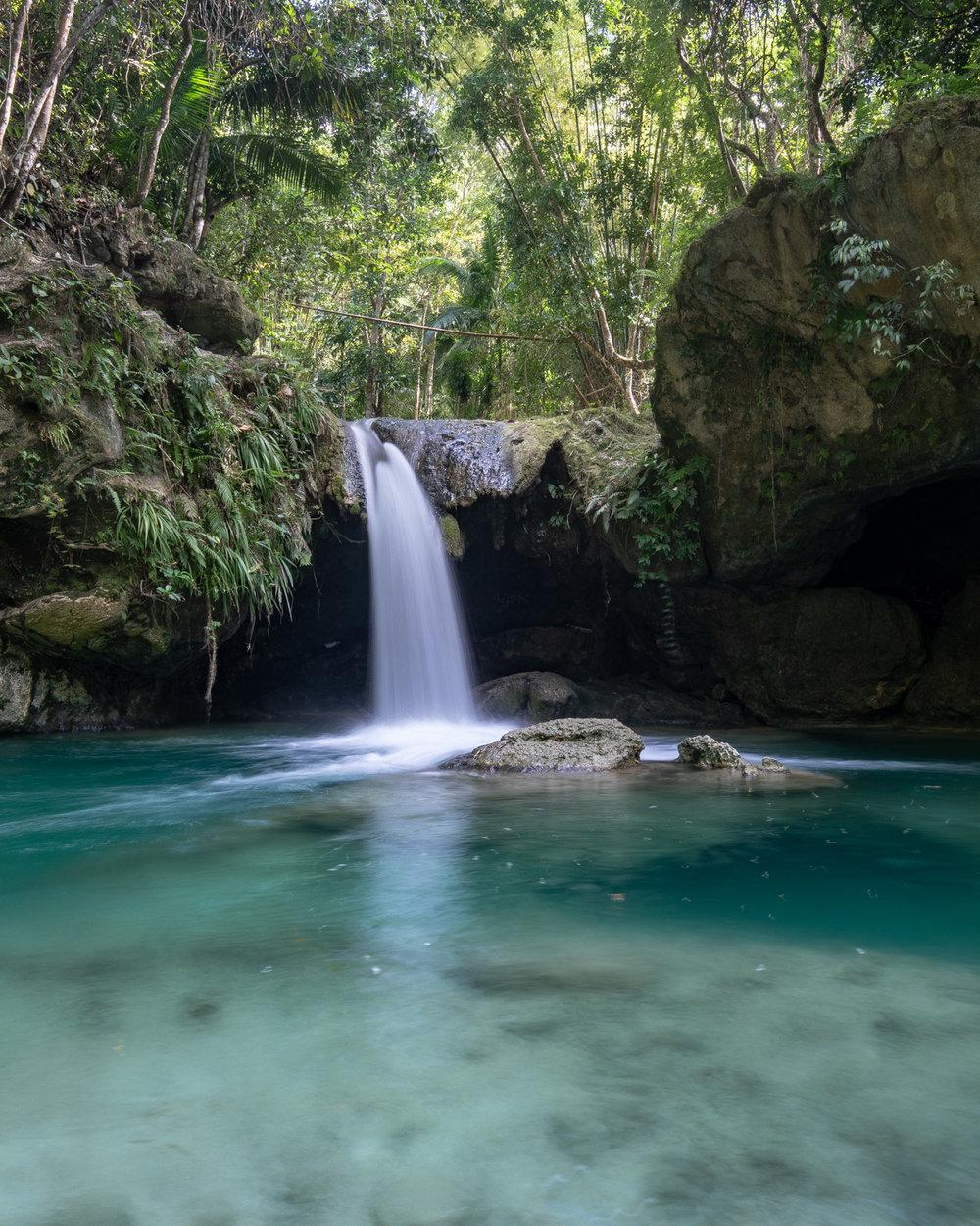 The top tier of Inambakan Falls