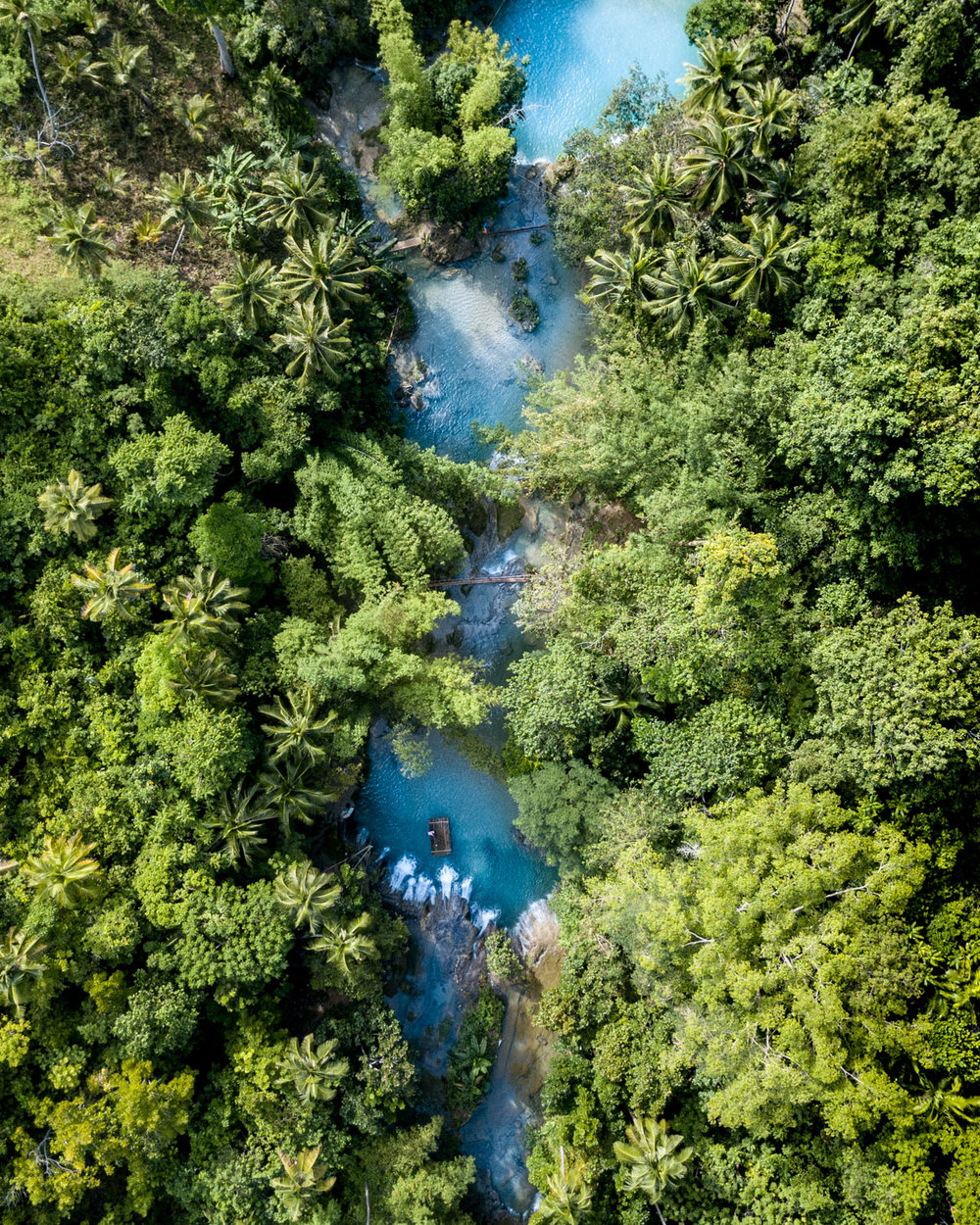 Aerial view of Cambugahay Falls in Siquijor The Philippines