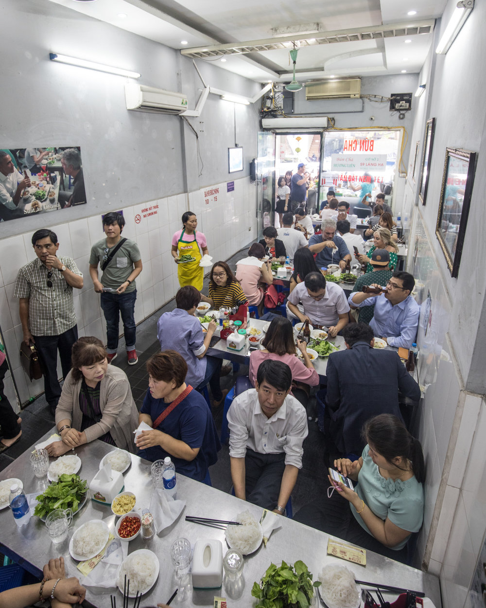 Bun Cha Huong Lien where Obama & Bourdain made famous. Now it's one of the most popular places in town.