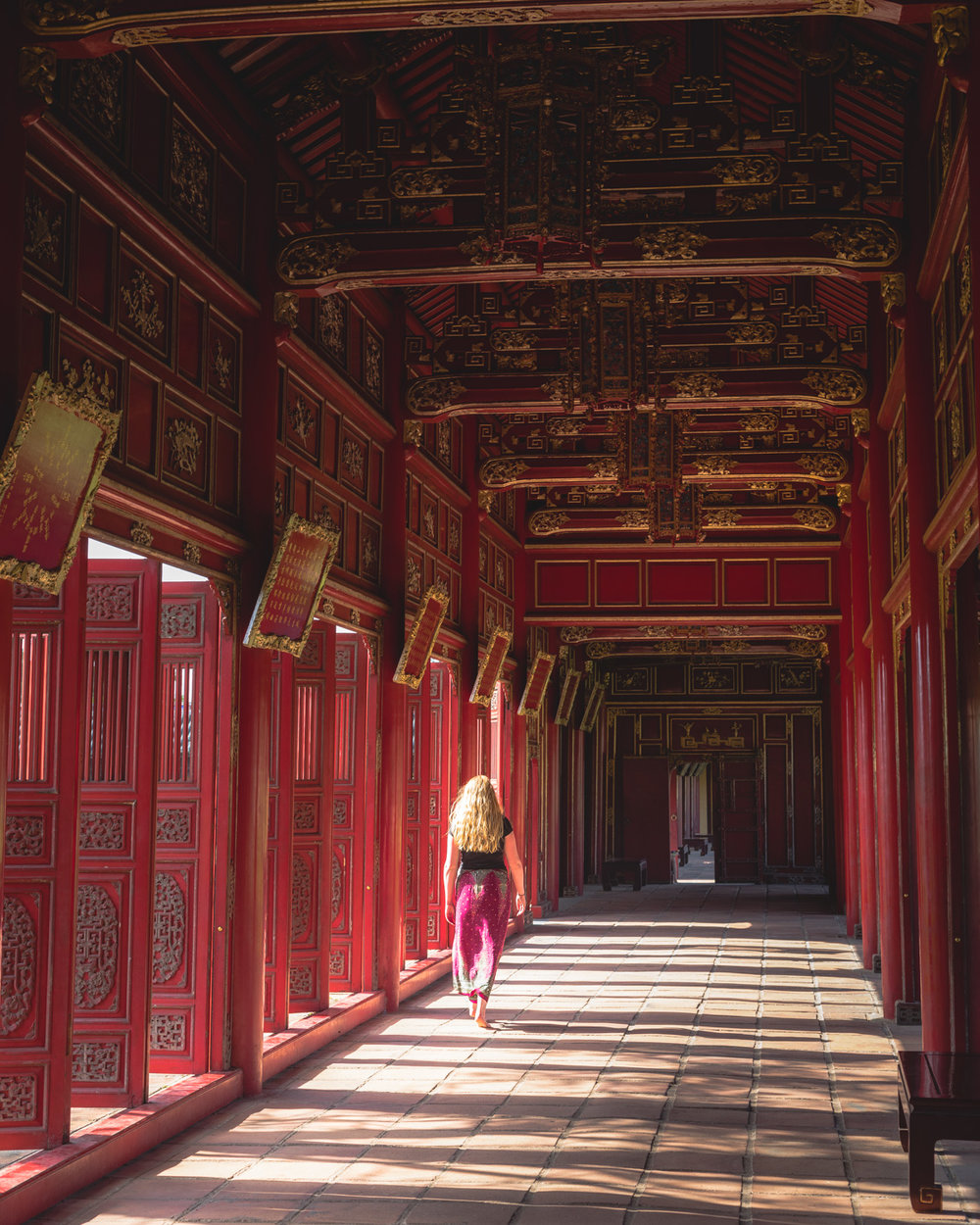 The beautiful long corridor at the Citadel in Hue