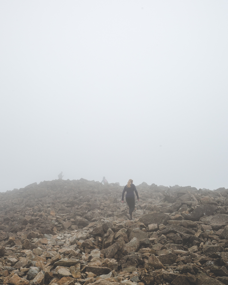 Foggy time on the summit of Scafell Pike