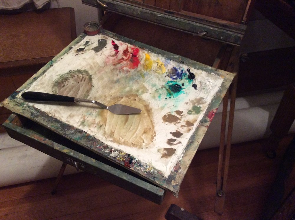 This is my trusty old palette. I made it out of some glass from an old frame, a piece of foam core and some masking tape. What does your palette look like? Leave a photo in the comments below