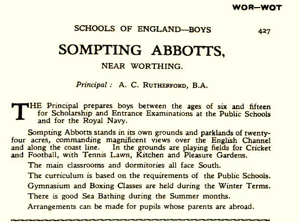 Listing for Sompting Abbotts Preparatory School in The Schools of England, Wales and Scotland (1931) - This annual directory was much relied upon by parents at the time. It was published by Ed. J Burrow & Company Ltd, Imperial House, 30 Regent St, London, and cost 3/6 (three and half shillings to buy).