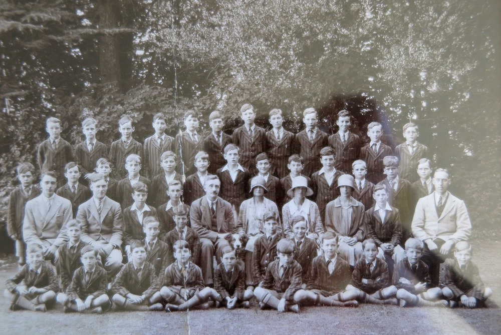 Staff and pupils of Sompting Abbotts Preparatory School during the 1930s. Mr A.C. Rutherford is pictured in the centre of the second row; his son George Rutherford can be seen on the same row on the far right.