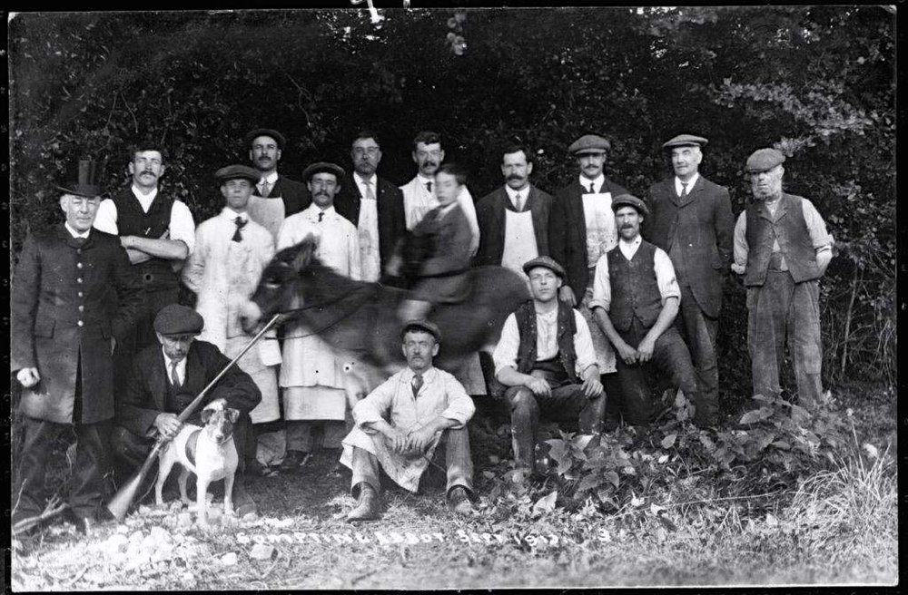 This picture shows the male staff at Sompting Abbotts in 1913. No details of those pictured remain but there's a good possibility that one of the men pictured here was the faithful old gardener Mr Kennard about whom Mr Sinclair writes. Photo credit:    Lancing & Sompting Pastfinders