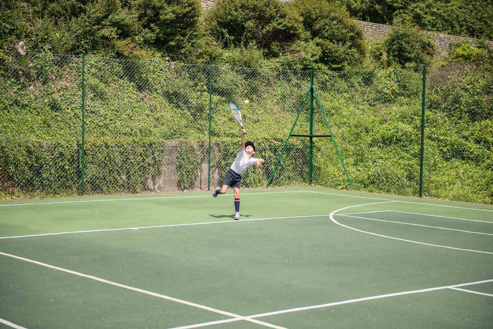 The tennis and netball courts -