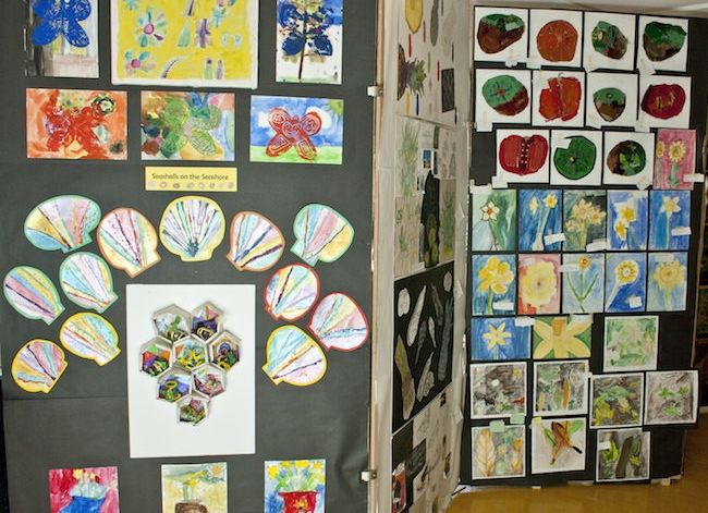 A display of outdoor-inspired work in the Art Studio