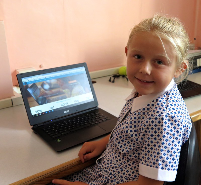 A pupil in the IT suite at Sompting Abbotts Preparatory School