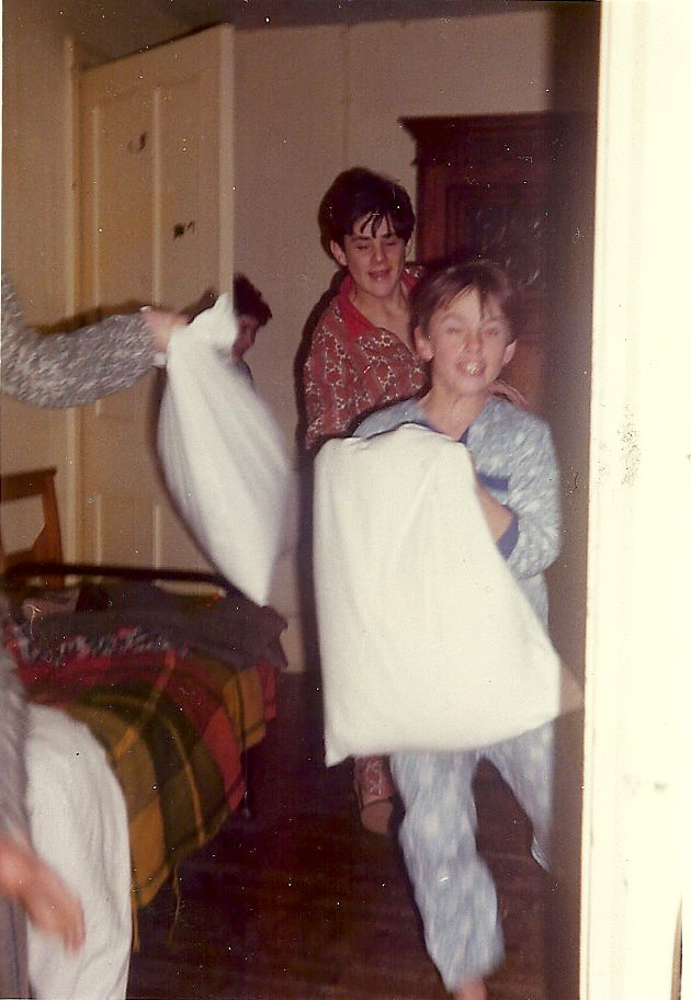 Pillow fights! Nick in the dorm at Sompting Abbotts Prep School
