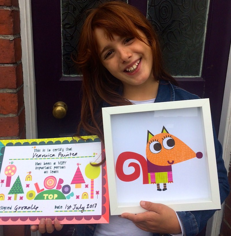 Veronica was given a handmade picture of her character Crunch by animator Leigh Hodgkinson
