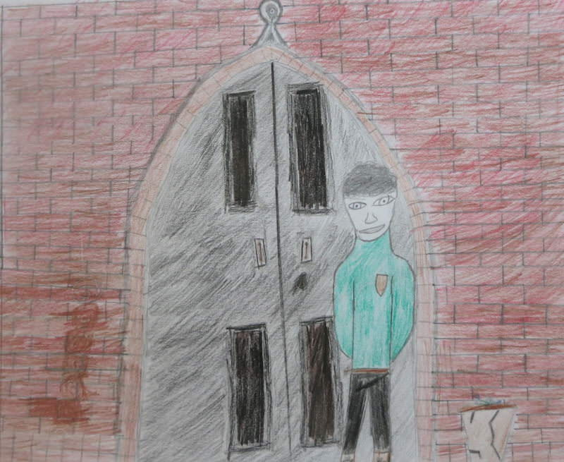 Wyndham Le Strange stands in a green smoking jacket in the school's main entrance arch. Illustration by Jonny T, Year 8, Sompting Abbotts Preparatory School