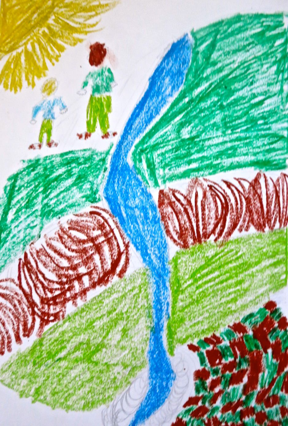 We see the coil of the river through the valley. Illustration by George B-N, Year 8, Sompting Abbotts Preparatory School