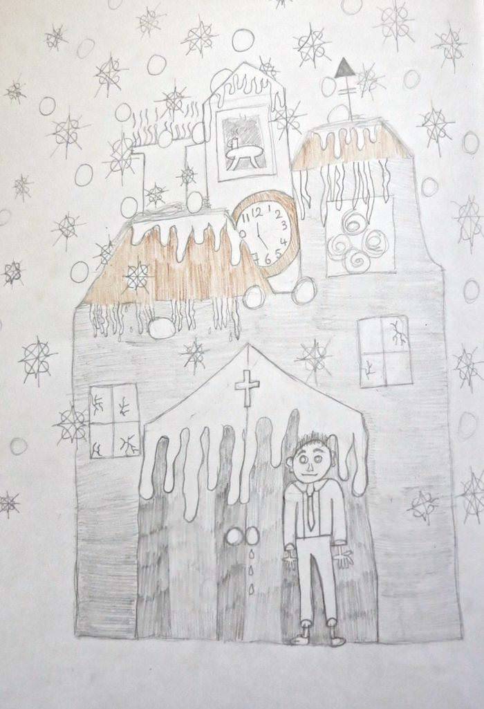 It is December now. Frost patterns the windows, shimmers on the roofs, making icicles of the towers. Illustration by Chloe M, Year 8, Sompting Abbotts Preparatory School