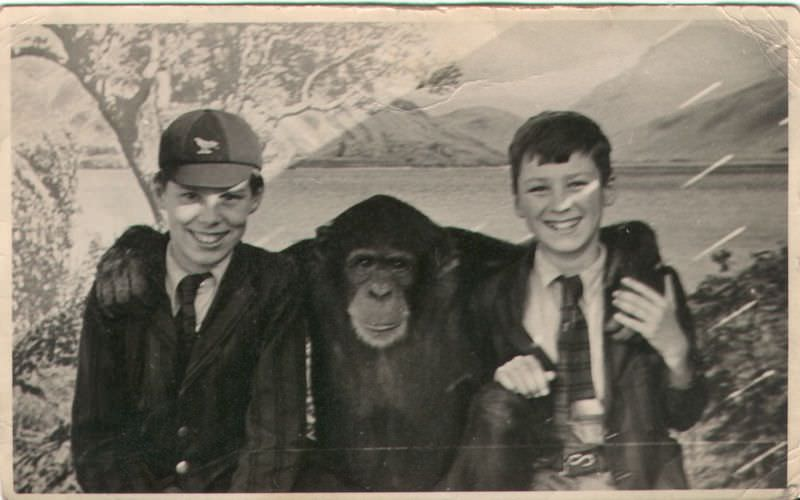 1930s picture of Jim and his older brother David on a trip to London Zoo. They are both wearing their Sompting Abbotts' school uniforms of the day so perhaps this was a school trip. Image kind courtesy of Craig Macbride