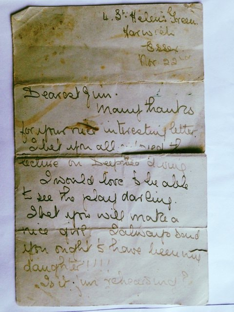The letter found under Sompting Abbotts' floorboards