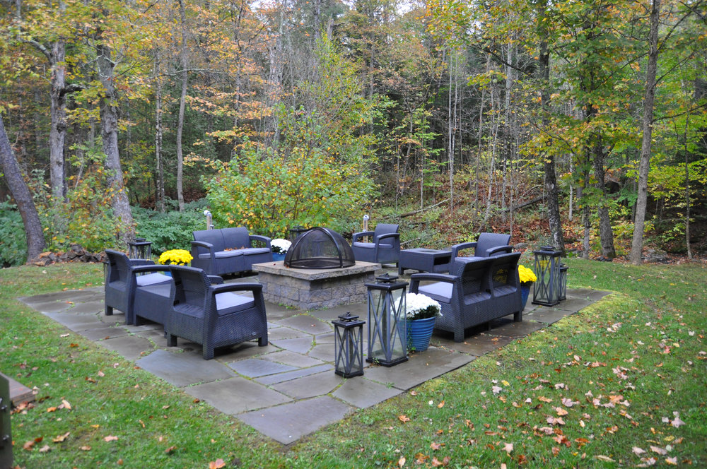 Blue Stone Patio & Fire Pit Gather around our fire pit to enjoy S'mores or just to kick back, relax, and enjoy each other's company and the beautiful natural and landscaped surroundings. *Included