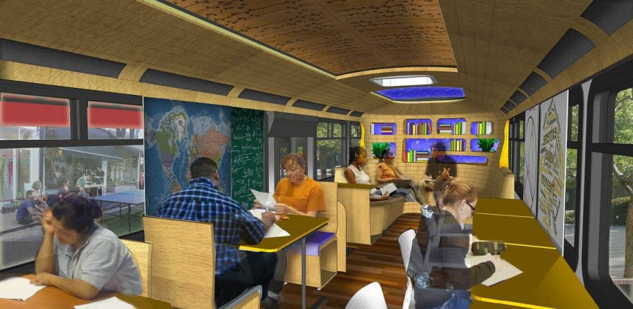 A rendering of the School on Wheels bus (Credit: Designing Justice + Designing Spaces)  nextcity.org , October 27, 2016 Danya Sherman