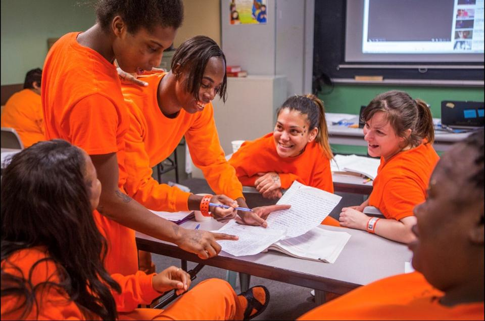 Women are earning college credits while in jail through a partnership of Five Keys, City College of San Francisco, and the San Francisco Sheriff's Department. ROBINSON KUNTZ
