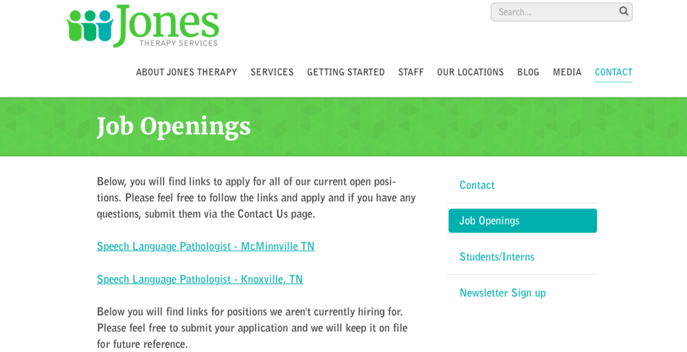 Job Openings - career opportunities: current openings available in mcminville and knoxville tn:jones therapy services