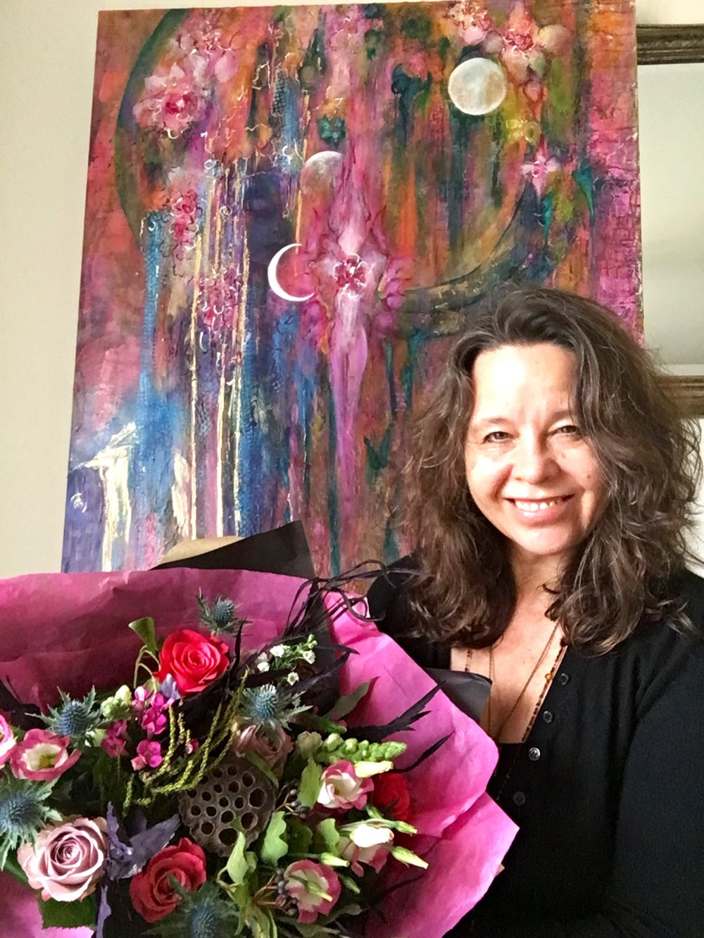 'Moon Goddess'  Painting and the designed Bouquet