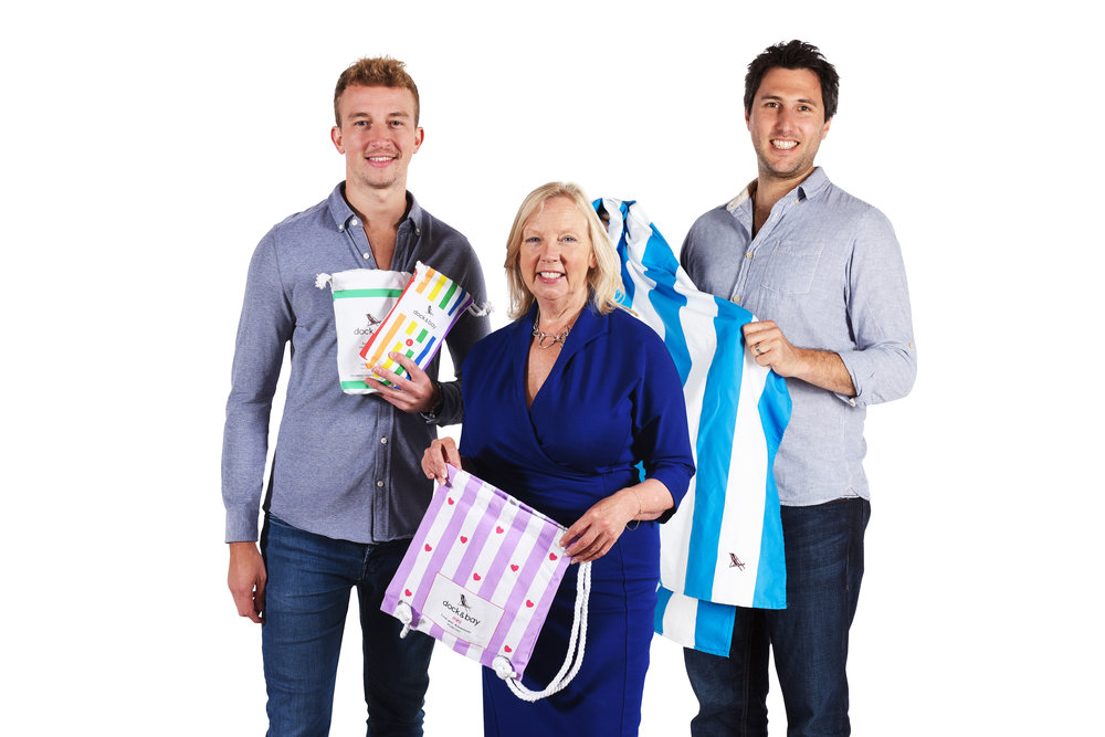 Dock & Bay founders Ben and Andy with Dragon's Den investor Deborah Meaden