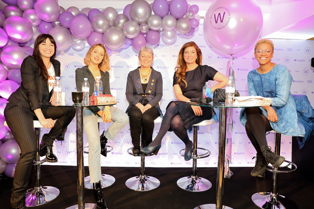 The all-female panel. From left to right: Daisy Lowe, Tess Ward, Tracey Edwards MBE, Karren Brady and host Gemma Cairney